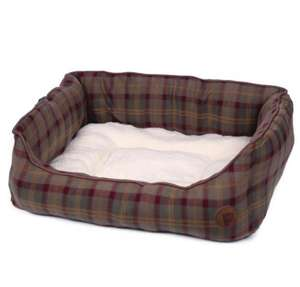 Petface Country Check cosy square dog bed