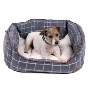 Petface Window Pane Grey Check Fleece Square Bed For Dogs