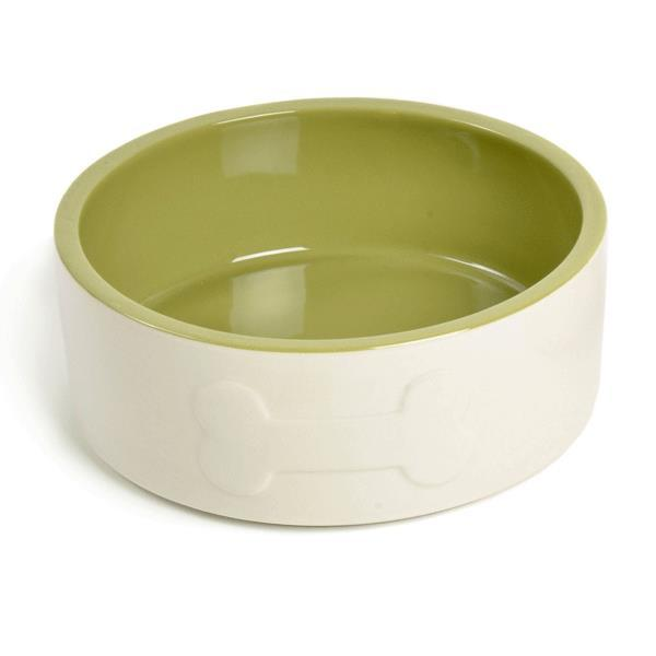 Petface Bone Ceramic Dog Bowl - cream with a green interior