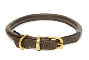 D&H Classic Rolled Leather dog collar in Brown