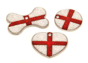 Flag Engraved ID Tag England - glitter