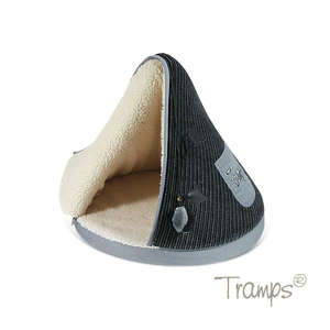 Tramps cat teepee bed in black and grey