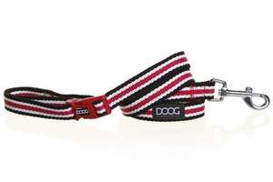 DOOG Clip it Harvard black red and white striped lead