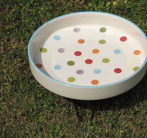 Petface Ceramic Bird Baths For Wild Birds Spots and dots Design