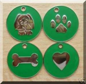 Nickel Design Engraved Dog Tags Green