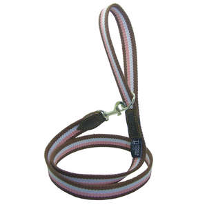 D&H Wide Striped Cotton Webbing Dog Lead - Pink, Brown & White
