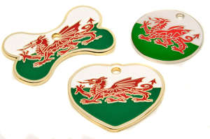 Flag Engraved ID Tag Wales - enamel