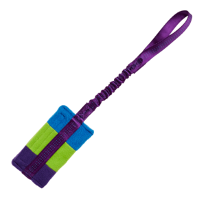 Tug-E-Nuff Food Bag Bungee - Purple/Green/Blue Fleece