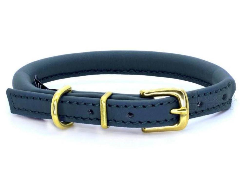 D&H Classic Rolled Leather dog collar in Navy