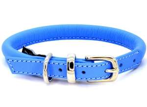 D&H Contemporary Rolled Leather Dog Collar blue
