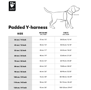 Hurtta Outdoors Padded Y-Harness - Size Chart