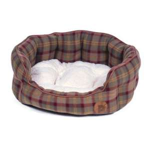 Petface Country Check cosy oval dog bed