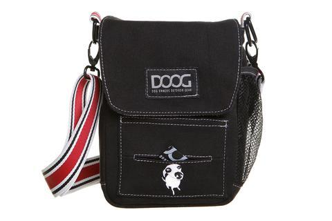 DOOG Walkie Shoulder Bag in Black with red and white strap