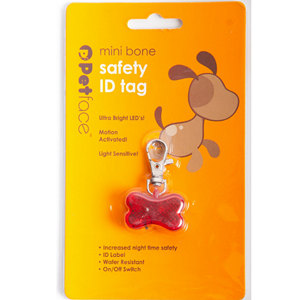 Petface motion activated red bone LED ID safety tag for dogs in packet