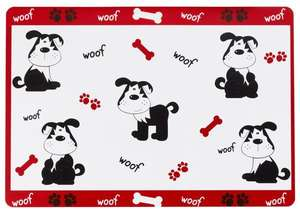 Petface Placemat Woof design with black dogs and red bones
