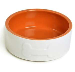 Petface Bone Ceramic Dog Bowl - cream with a terracotta interior