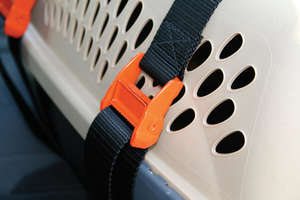 Kurgo carrier keeper car restraints for pet carriers with non slip adjuster clips