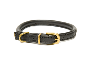 D&H Classic Rolled Leather dog collar in Black