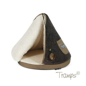 Tramps cat teepee bed in chocolate and tan