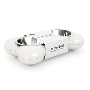 Hing Bone Dog Bowl Duo White