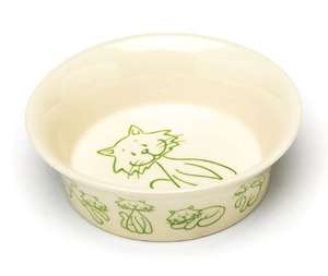 Petface catkins ceramic cat bowls cream and green cat motif with sloping sides