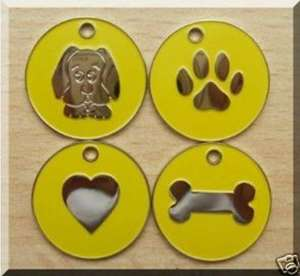 Nickel Design Engraved Dog Tags Yellow
