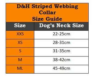 D&H Striped Cotton Webbing Dog Collar Size Guide