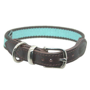 D&H Striped Cotton Webbing Dog Collar Blue
