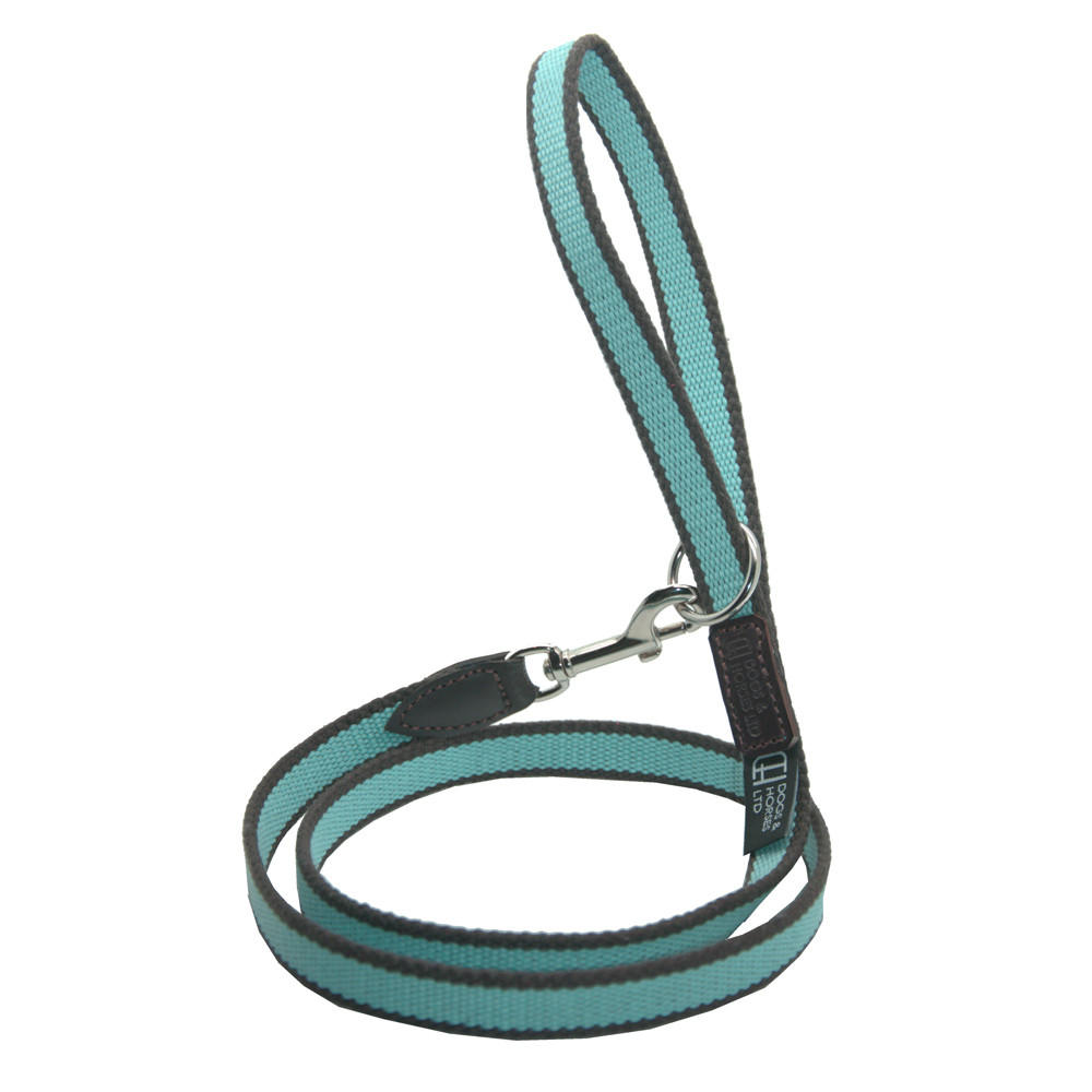 D&H Striped Cotton Webbing Dog Lead Blue