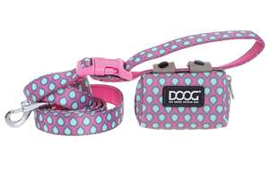DOOG Walkie Pouch - Pink with Blue Teardrop with Luna Lead