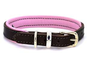 D&H Contemporary Colours Leather dog collar in pink