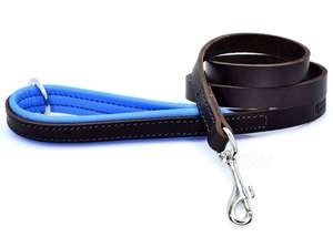 D&H Contemporary Colours Luxury Leather Dog Lead Blue