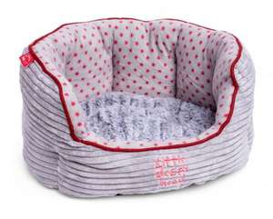 Little Petface Grey Cord Oval puppy dog bed with grey fun fur reversible cushion