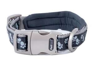 Petface Signature Padded Dog Collars Black Paws