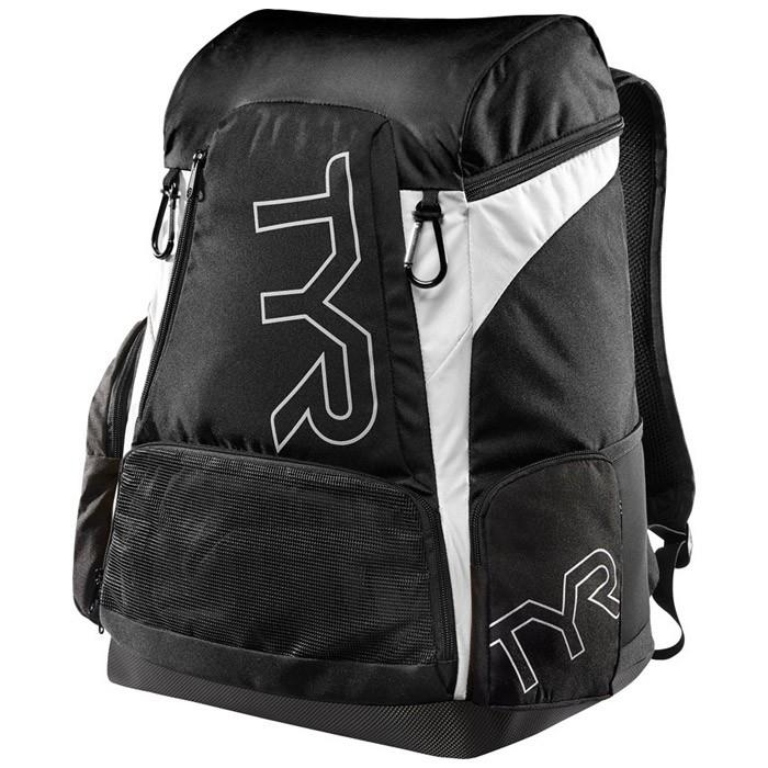 The black and white TYR Alliance 45L Backpack