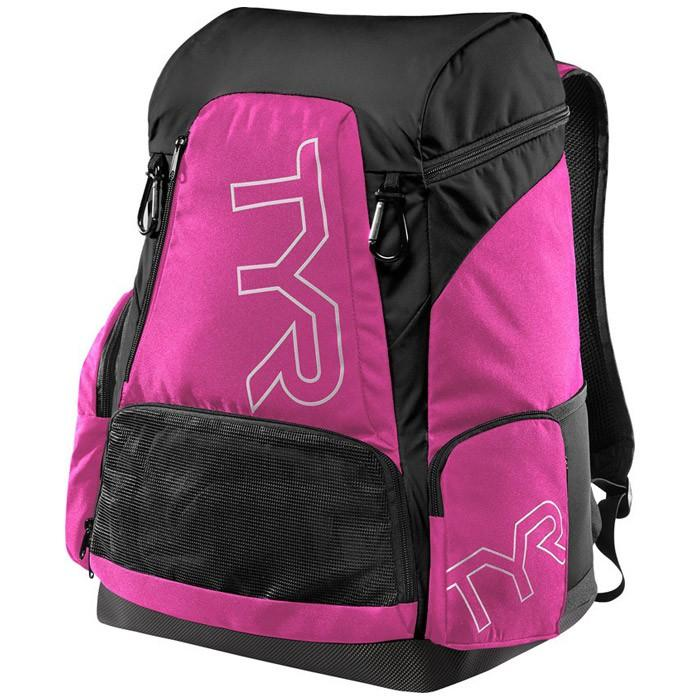 The pink and black TYR Alliance 45L Backpack