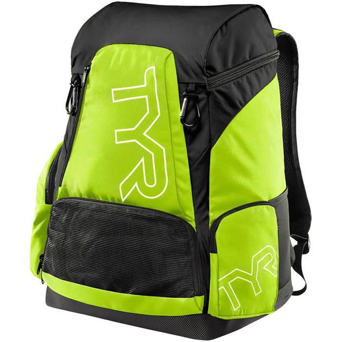 The black and lime TYR Alliance 45L Backpack