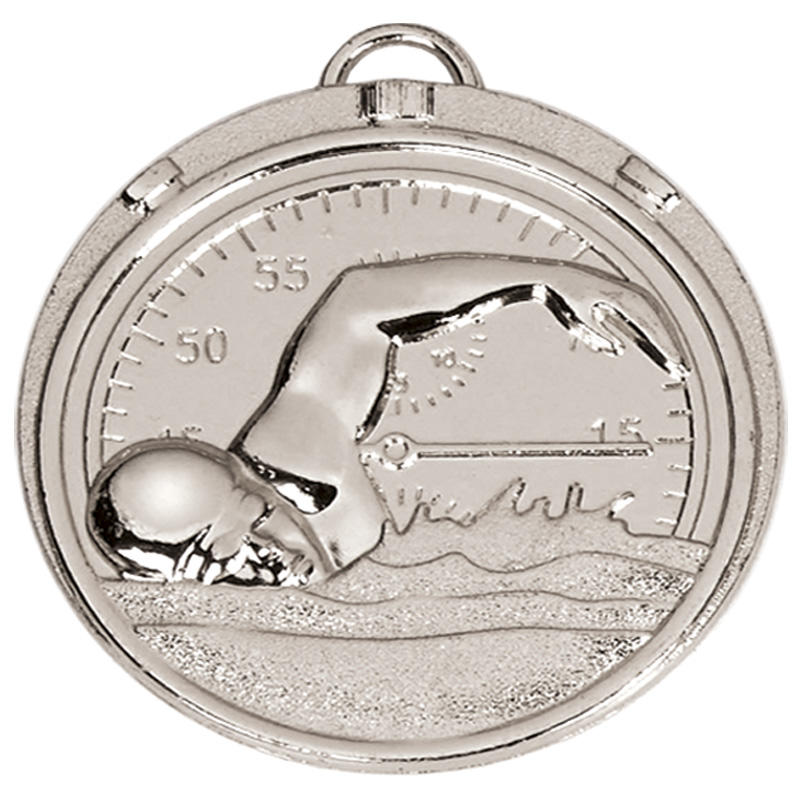 Swimmers Stopwatch silver medal