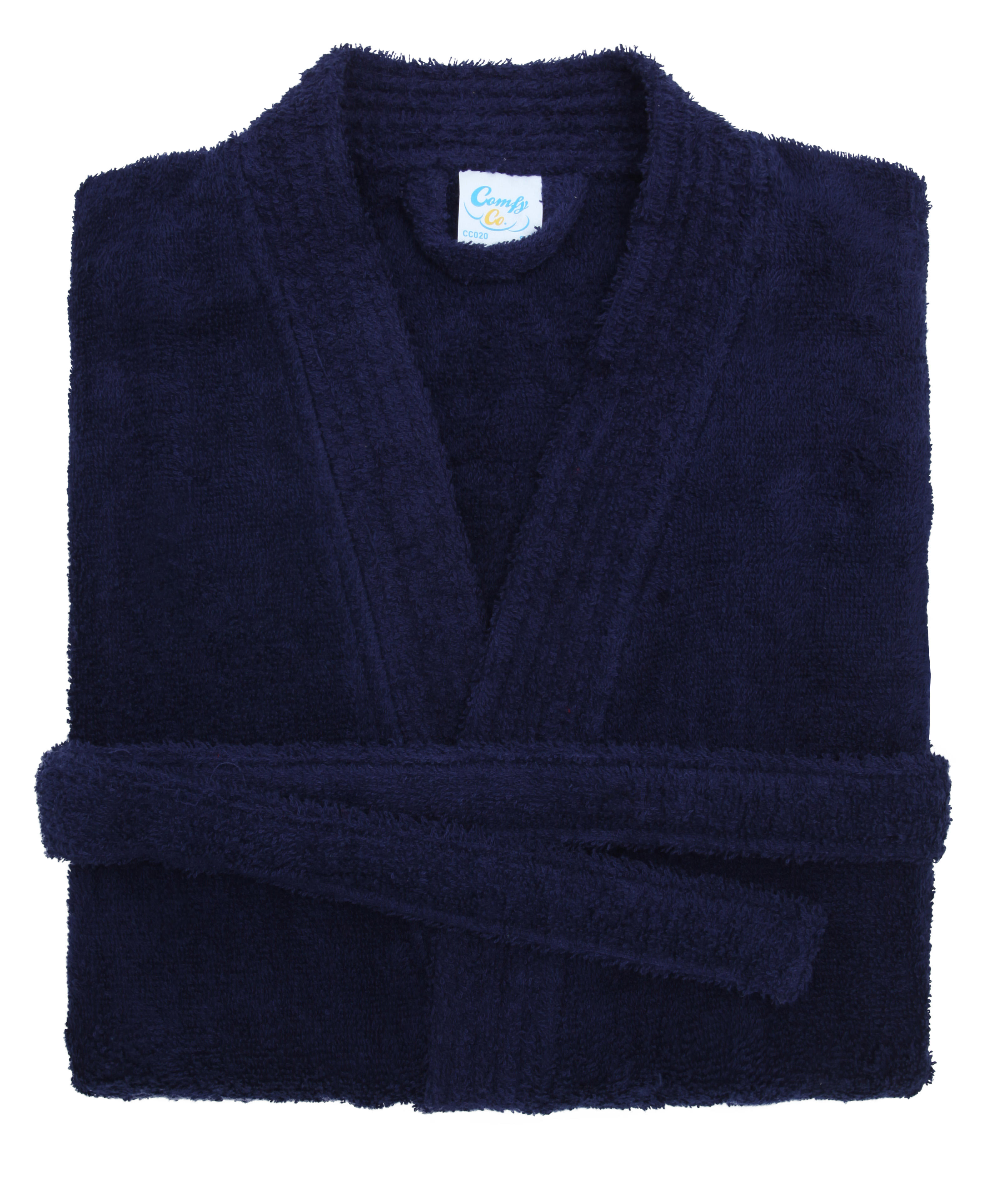 navy cotton towelling bath robe