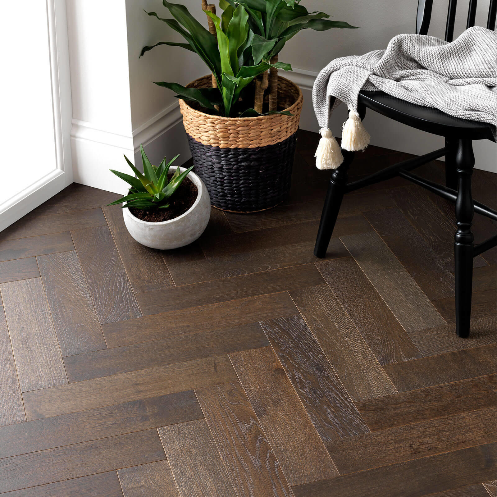 Woodpecker Goodrich Herringbone Espresso Oak Brushed & Matt Lacquered Engineered Wood Flooring 32-GCW-001