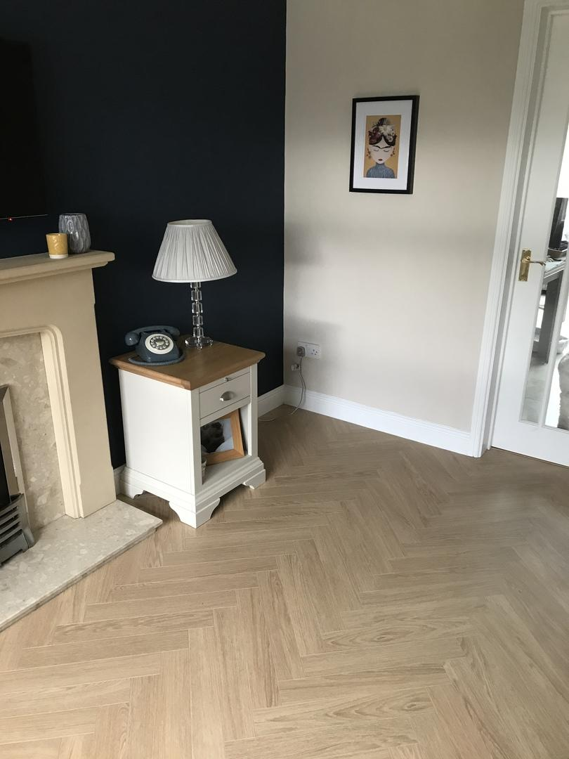 Berry Alloc Chateau Charme Light Natural Parquet Herringbone Laminate Flooring Customer Photo