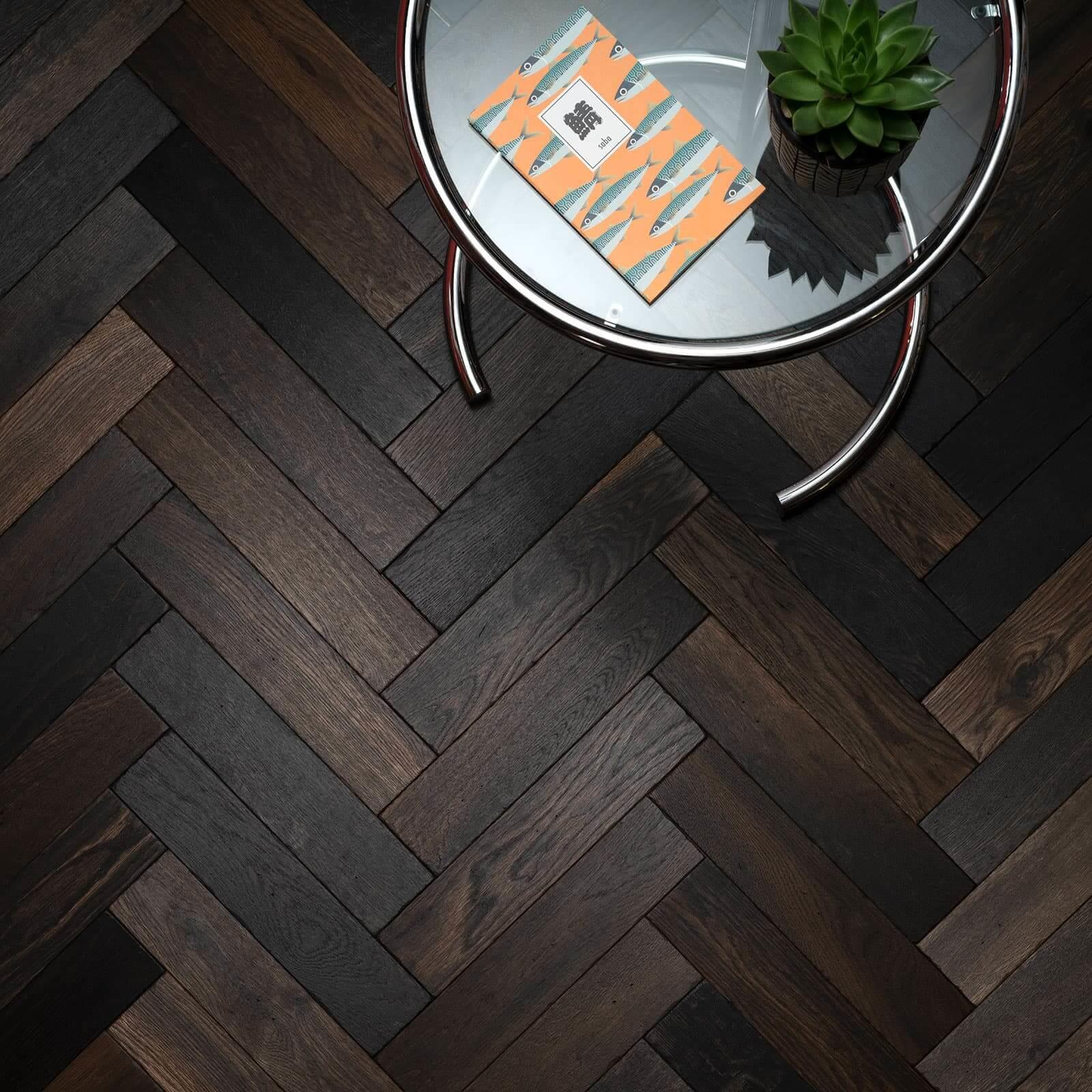 Woodpecker Goodrich Herringbone Charred Oak Brushed & Matt Lacquered Engineered Wood Flooring 32-GCD-001