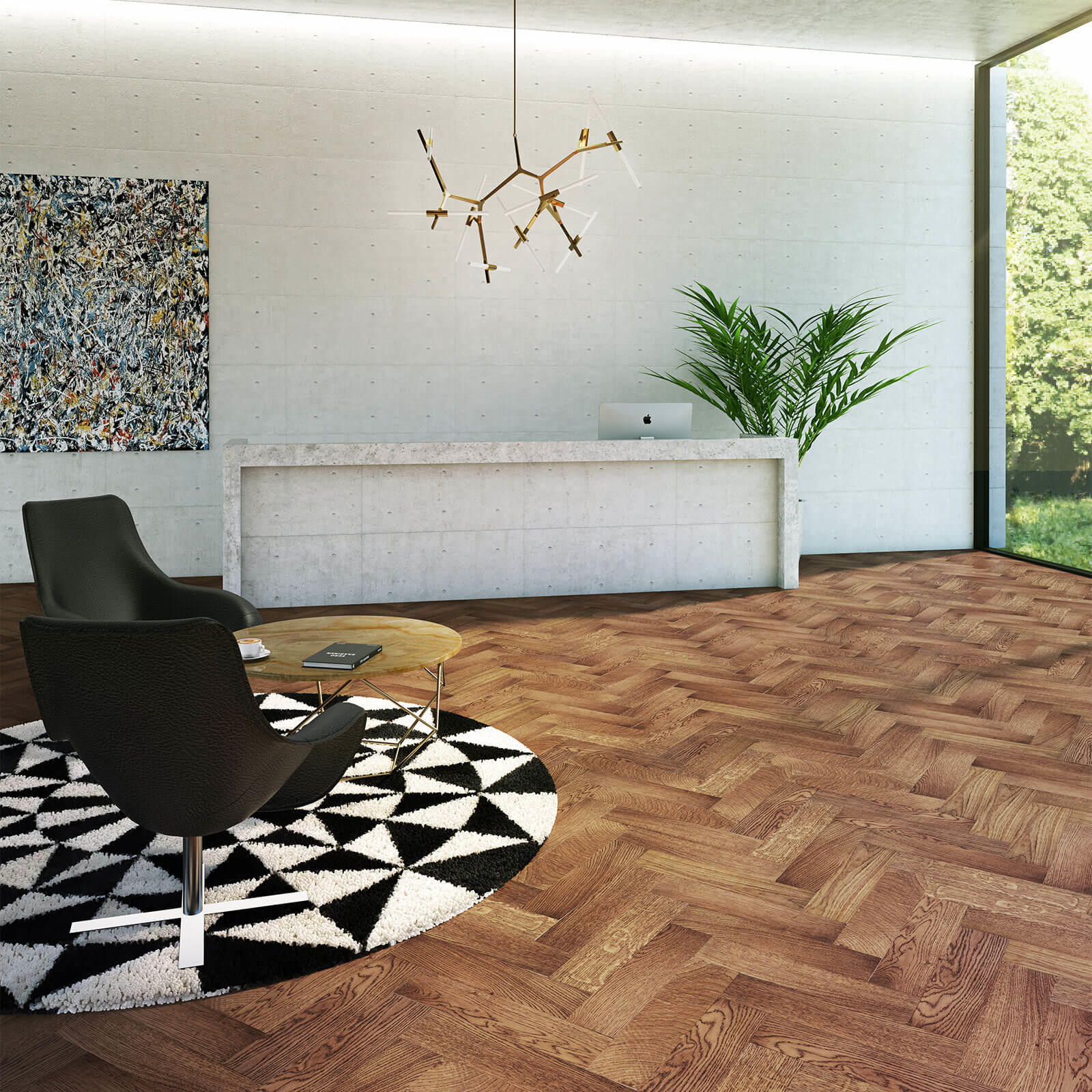 Woodpecker Goodrich Herringbone Coffee Oak Brushed & Matt Lacquered Engineered Wood Flooring 32-GCO-001
