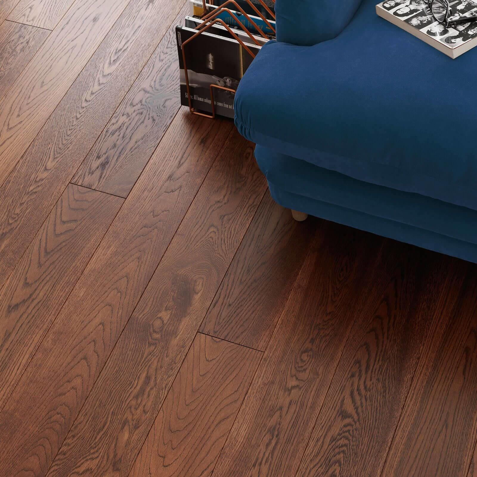Woodpecker Harlech Cognac Oak Brushed & Matt Lacquered Engineered Wood Flooring 150mm 35-HOC-001