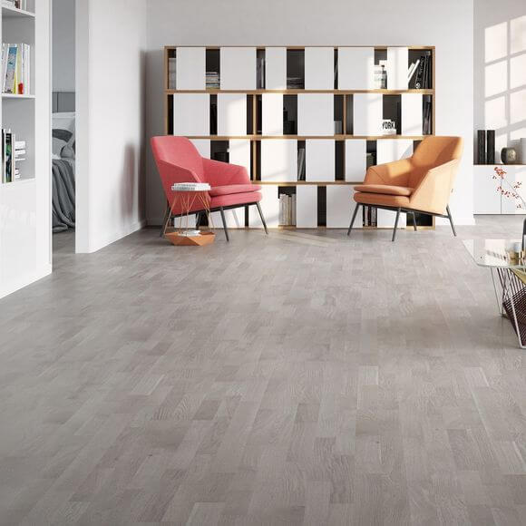 Baelea 3 Strip Grey Oak Washed Brushed Matt Lacquered Click Engineered Wood Flooring BF16