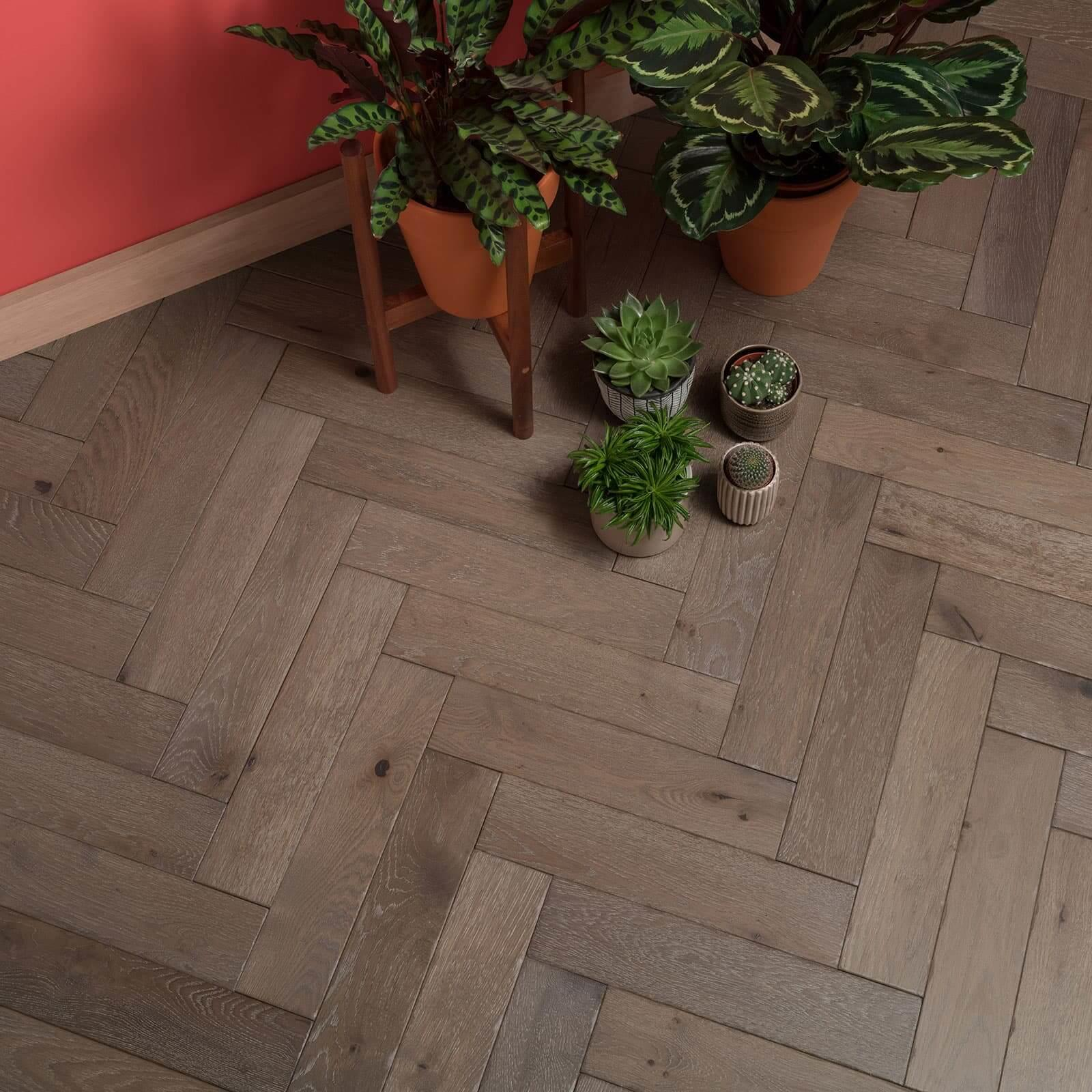 Woodpecker Goodrich Herringbone Barn Oak Brushed & Matt Lacquered Engineered Wood Flooring 32-GBO-001