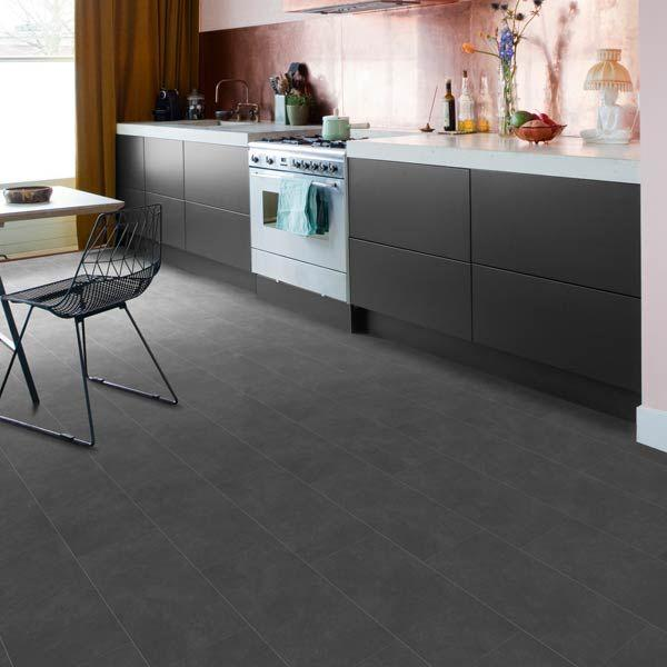 Baelea Aqua Rigid Core Warm Grey Stone Click Tile Effect Engineered Vinyl Floor
