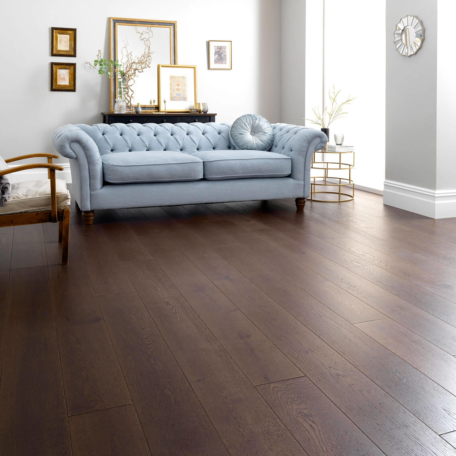 Woodpecker Harlech Chocolate Oak Brushed & Matt Lacquered Engineered Wood Flooring 190mm 35-HCW-001