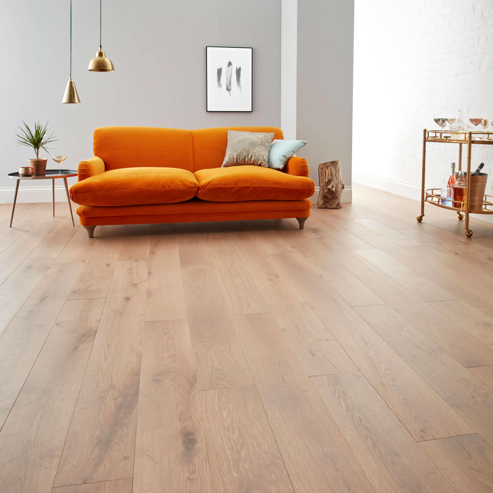 Woodpecker Chepstow Planed Grey Oak Hardwax Oiled Engineered Wood Flooring 189mm 65-POG-001
