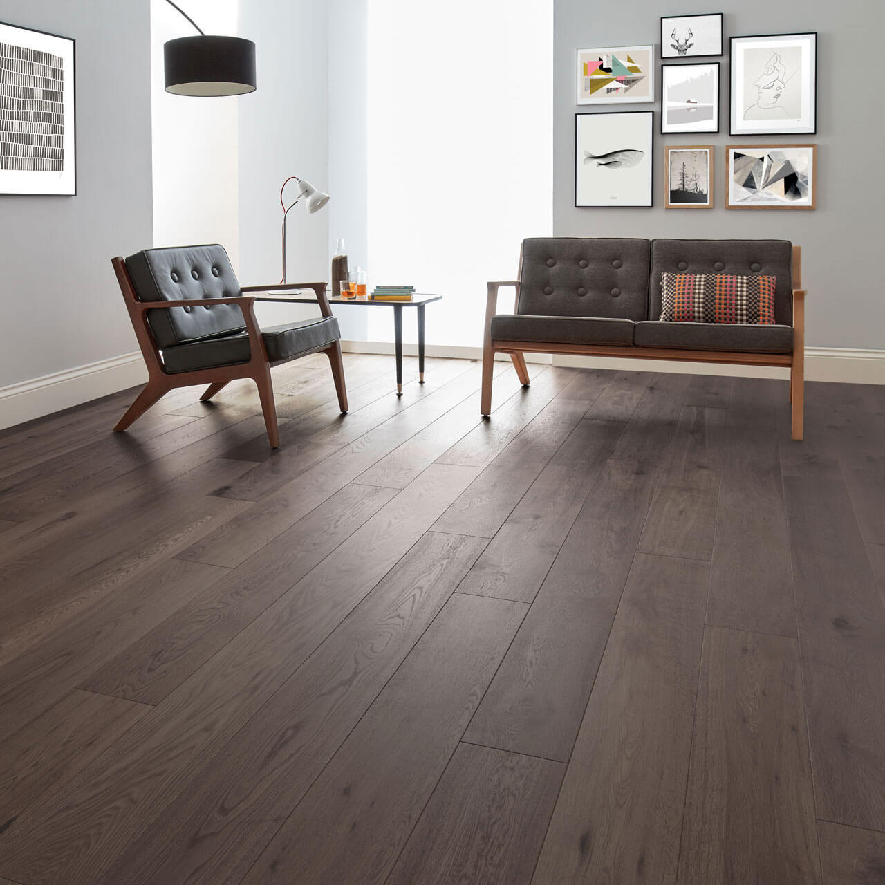 Woodpecker Salcombe Shadow Oak Brushed & Matt Lacquered 45-WAC-017 Engineered Wood Flooring